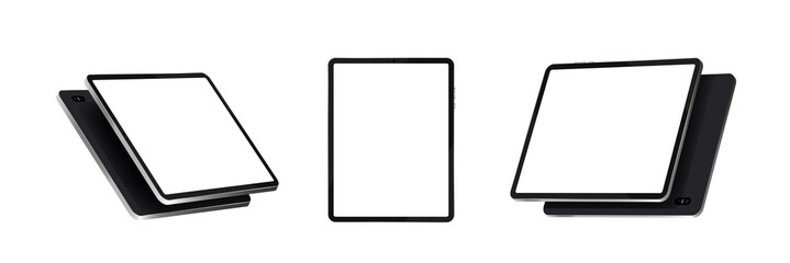 Tablets at various angles. Realistic black tablet vector template isolated on white background in different point of view. Device with touch screen display. 3D gadgets, isometry, perspective. Vector Wall mural