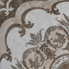 Wall Mural - marble tile with floral pattern for the kitchen