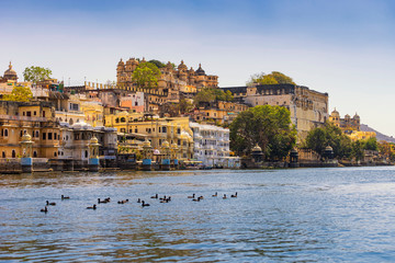 A view of Udaipur city palace from lake Pichola.
