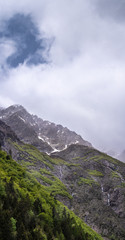 French landscape - Les Ecrins. Panoramic view over the peaks of Les Ecrins nearby Grenoble.