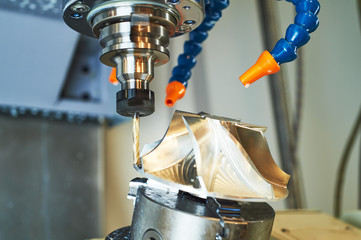 cnc machine at metal work industry. precision milling impeller machining