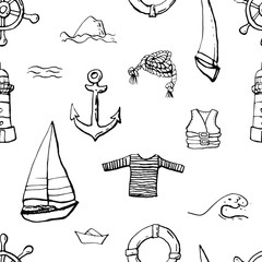 Collection of sea marine ink doodles on white backdrop. Seamless pattern. Endless texture. Can be used for printed materials. Vacation holiday background. Hand drawn design elements. Festive print.