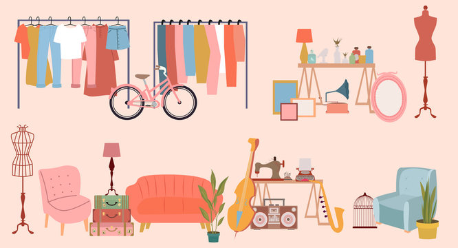 Yard sale poster with vintage furniture, clothes and accessories shop, cartoon flat design. Editable vector illustration