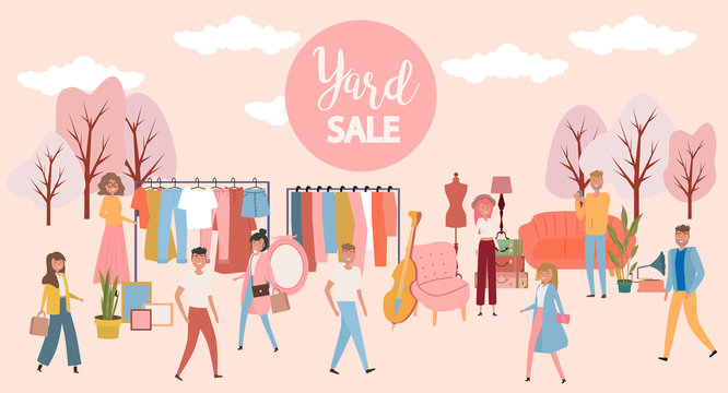 Yard sale poster with people selling and shopping at walking street, vintage furniture, clothes and accessories shop, cartoon flat design. Editable vector illustration