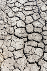 section of the earth's surface with deep cracks due to drought from global warming