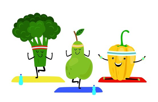 Yoga class. Vector cartoon fruits do yoga exercise. Healthy food isolated on white background