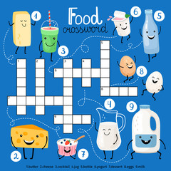 Food crossword with milk, eggs and diary products characters, vector illustration