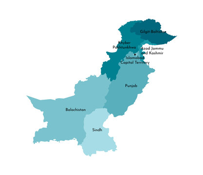 Vector isolated illustration of simplified administrative map of Pakistan. Borders and names of the regions. Colorful blue khaki silhouettes