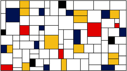 Neoplasticism (Piet Mondrian) imitation pattern. Vector background texture.