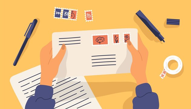 Hands holding envelope with stamps surrounded by stationery. Top view on table surface. Sending written letter or correspondence through postal service. Flat cartoon colorful vector illustration.