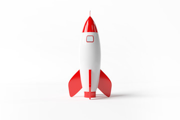 Old school style rocket isolated on white 3D rendering
