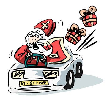 Sinterklaas illustratie - grappige vector van Sint die in een auto rijdt