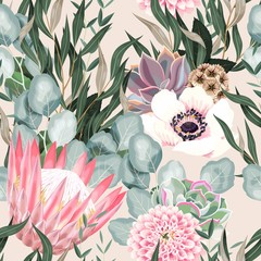 Vector seamless pattern with protea and greenery