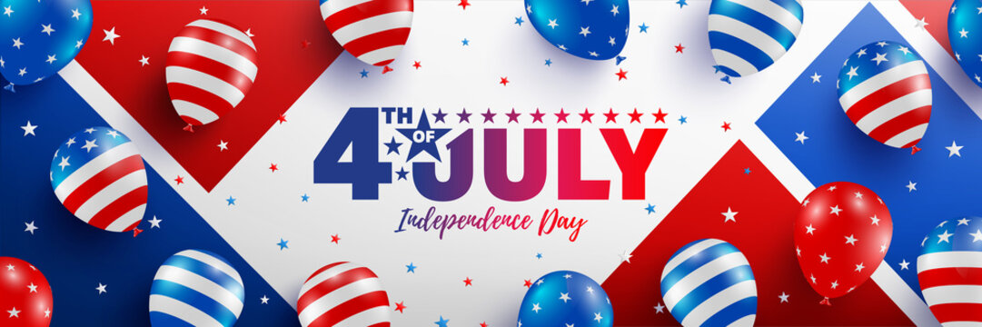 4th of July poster template.USA independence day celebration with American balloons flag.USA 4th of July promotion advertising banner template for Brochures,Poster or Banner.Vector illustration EPS 10