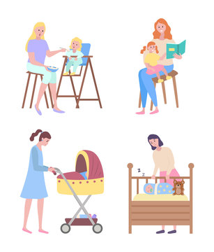 Woman and kid vector, mother reading story to daughter, lady with pram, mom looking at child sleeping in cradle with plush toy bear. Feeding infant
