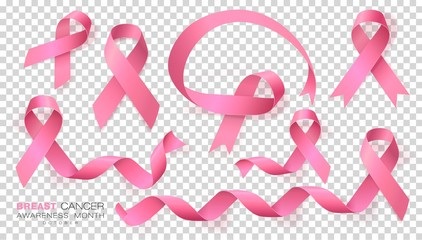 Breast Cancer Awareness Month. Pink Color Ribbon Isolated On Transparent Background. Vector Design Template For Poster.