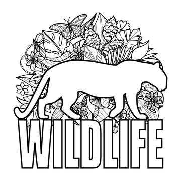 Wildlife coloring page with leopard and tropical plants