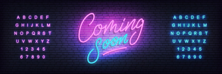 Coming soon neon sign. Lettering Coming soon for promotion, advertisement, sale, marketing.