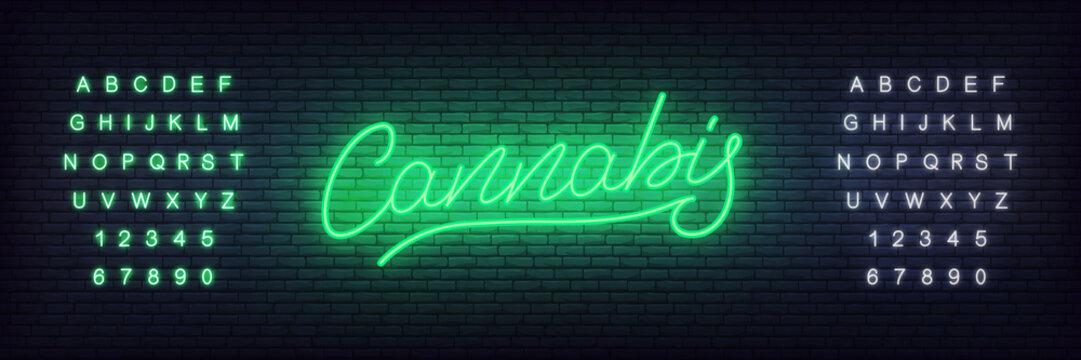 Cannabis neon sign. Glowing lettering cannabis for hemp, marijuana shop or businnes.