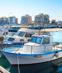 Larnaca Marina cityscape, yachts, boats