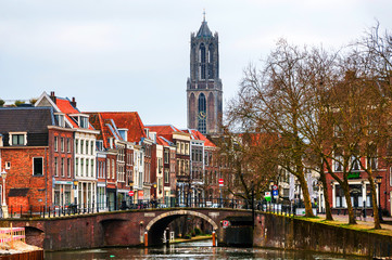 View of old town with Dom Tower in Utrecht, Netherlands during the cloudy day