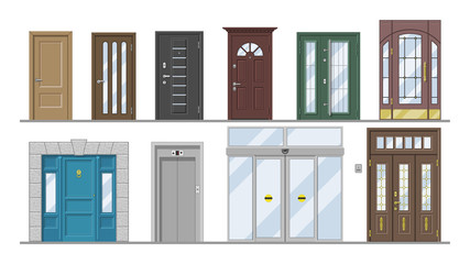 Doors vector doorway front entrance lift entry or elevator indoor house interior illustration set exterior building doorpost doorsill and exit gate isolated on white background