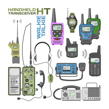 Walki-talkie vector radio portable transmitter wireless mobile communication device technology walkie talkie illustration set of transceiver equipment isolated on white background