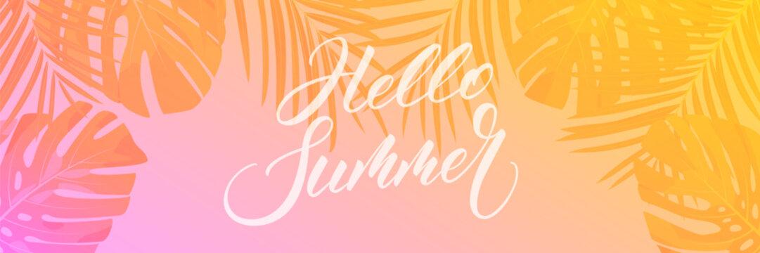 Summer banner. Palm leaves tropical wallpaper. Summer trendy design for ad, invitation, flyer, poster, web banner.