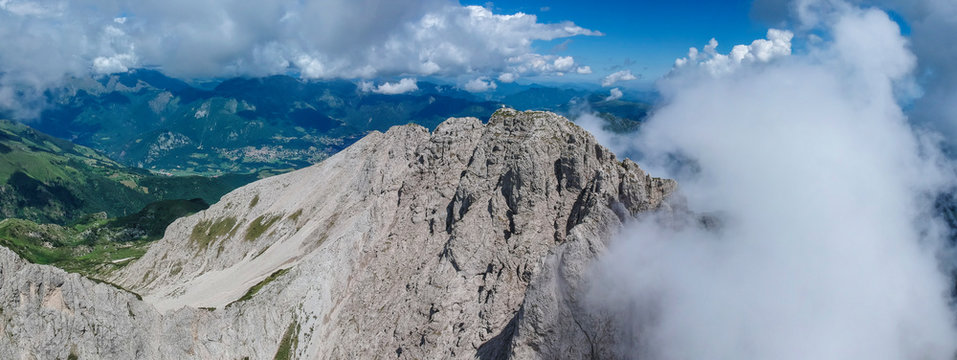 Landscape of Grigna Meridionale mountain in the alps of valsassina
