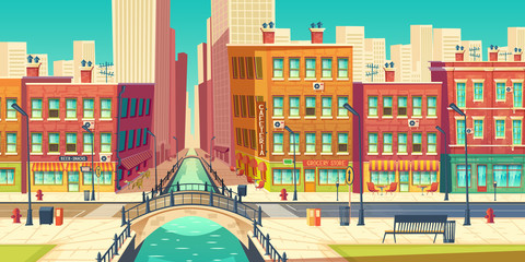 Old city district in modern metropolis cartoon vector. Outdoor cafeteria on embankment, grocery store, bar signboards on retro architecture buildings facades, road, arch bridge over river illustration Fototapete