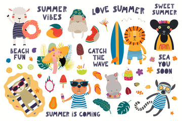 Foto auf Leinwand Abbildungen Big summer set with cute animals, quotes, fruits, drinks, pool floats. Isolated objects on white background. Hand drawn vector illustration. Scandinavian style flat design. Concept for children print.