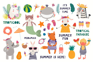 Foto op Plexiglas Illustraties Big summer set with cute animals, quotes, fruits, drinks, pool floats. Isolated objects on white background. Hand drawn vector illustration. Scandinavian style flat design. Concept for children print.