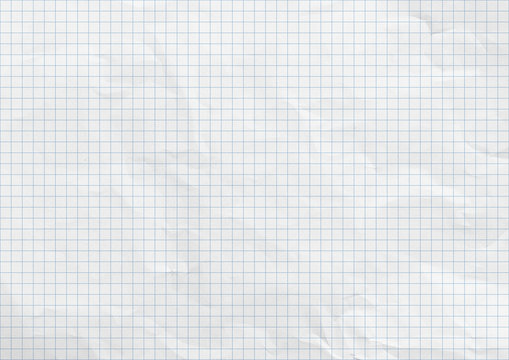 White crumpled paper. Blue graph lines