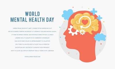World Mental Health Day. Silhouette of a man's head with brain, gear, love. Mental Growth. Clear your Mind. Positive Thinking. Vector - Illustration