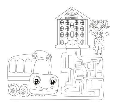 Maze with cute school bus