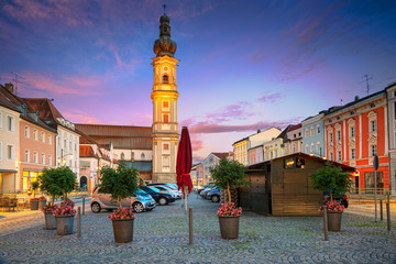 Deggendorf, Germany. Cityscape image of Deggendorf, Germany during sunset. Wall mural