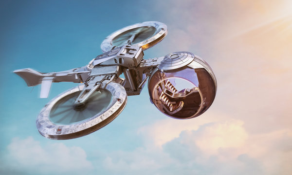 Self-driving autonomous passenger air taxi drone flying in the sunset sky. Robotic driverless aircraft copter, aerial security, city monitoring, delivery drone service, aerial taxi concept. 3D render