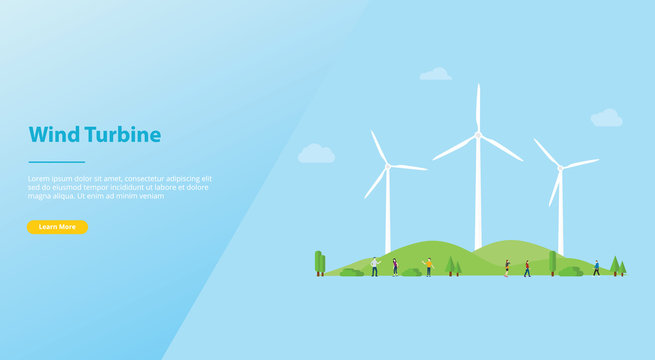 wind turbine concept on the city for energy power with modern flat style for website or web landing homepage design - vector