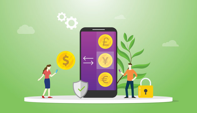 currency exchange money concept with mobile smartphone apps with options business technology investment - vector