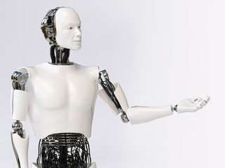 3D rendering of male robot presenting something.