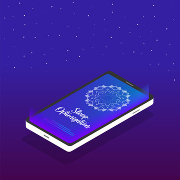 Sleep optimization application. Mobile phone icon in isometric design with a mandala on the screen and text - sleep optimization and a soothing purple background with stars.