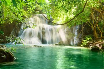 Beautiful scenic of Huaymaekamin Waterfall in Kanchanaburi, Thailand.