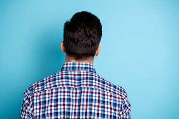 Rear back behind close-up photo portrait of handsome confident attractive he him guy wearing street style outfit plaid clothing isolated pastel background Fototapete