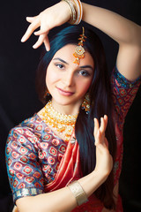 beauty sweet real indian girl in sari smiling cheerful, jewelry shining, lifestyle people concept