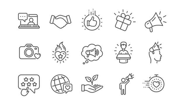 Brand ambassador line icons. Influence people, Megaphone and Representative. Handshake, influencer marketing person, ambassador person icons. Linear set. Vector
