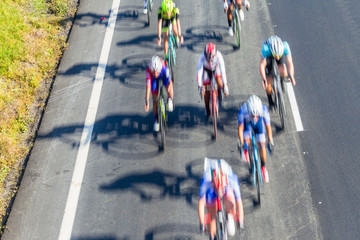 Cyclist Road Race Motion Speed Blur Overhead