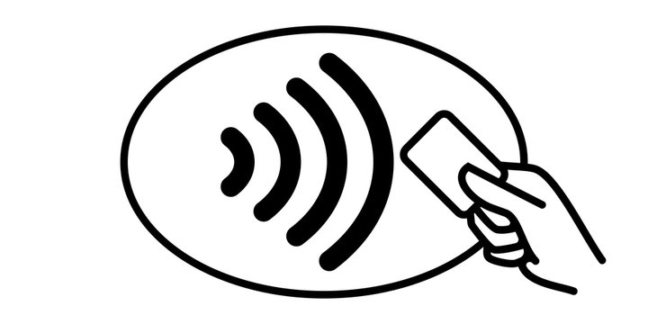 Contactless payment vector icon. Credit card and hand, wireless NFC pay wave and contactless pay pass logo