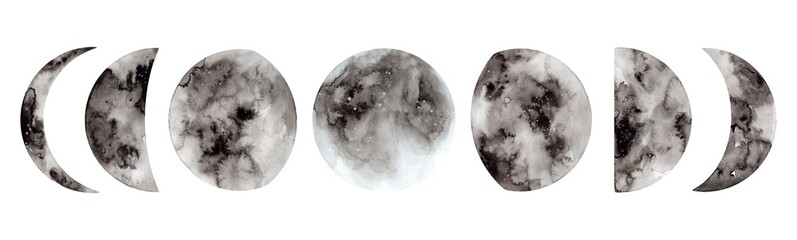 Fototapeta Hand painted watercolor moon phases. Full moon. Magic design for printing on textiles, packaging, cards obraz