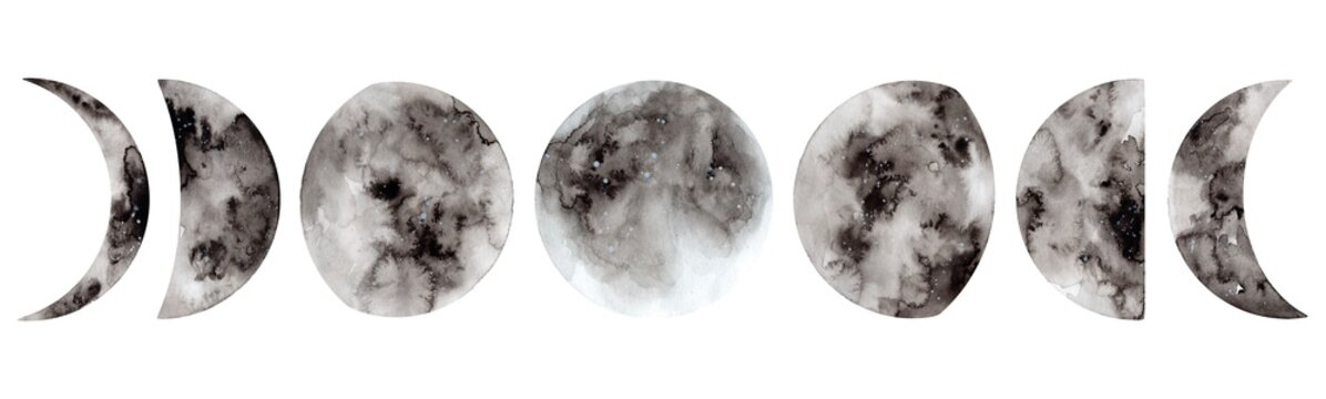 Hand painted watercolor moon phases. Full moon. Magic design for printing on textiles, packaging, cards