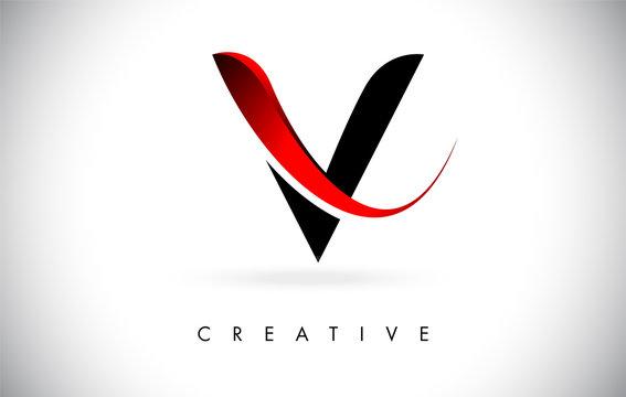 V Letter Design Logo. Letter V Icon Logo with Modern Swoosh